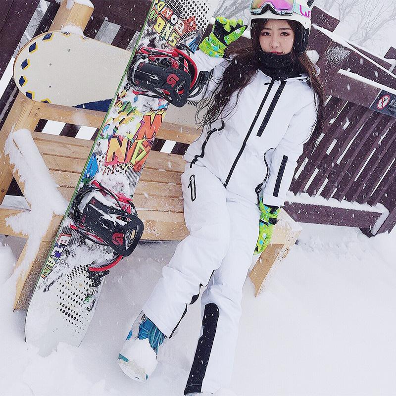 户外滑雪套装大码单双板加厚保暖滑雪服女男白色防水防风滑雪裤女
