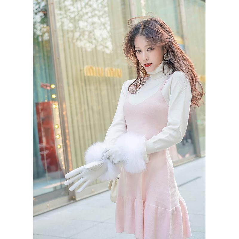 2018秋冬季新款女装修身收腰显瘦吊带兔绒连衣裙女背带裙打底裙