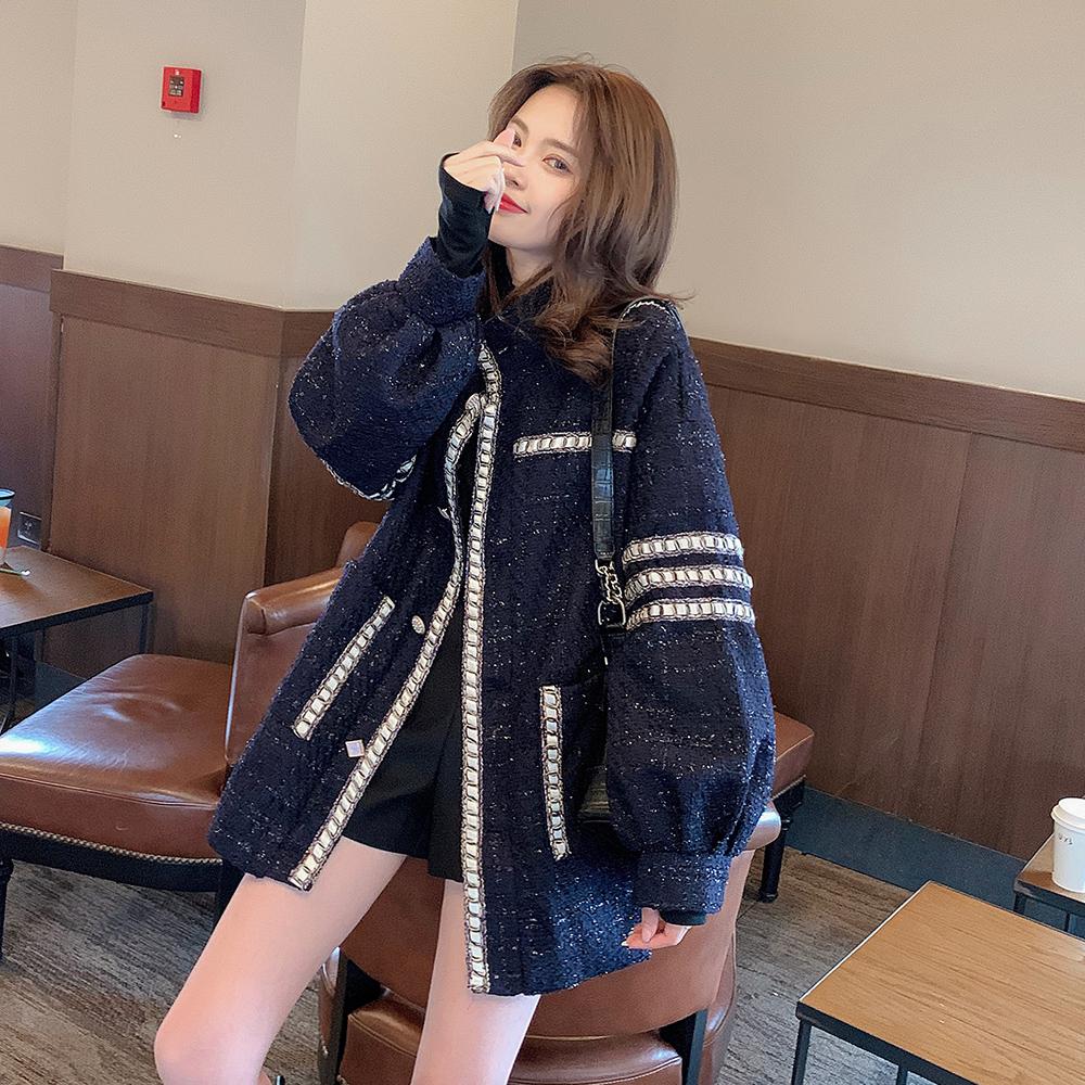 Q4688-2019秋新款女装宽松洋气学生中长款小香风粗花呢外套 1014
