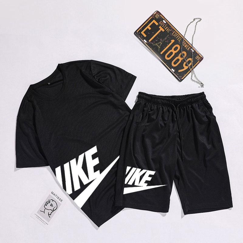 夏季新款跑步运动服套装男夏健身速干运动短袖五分短裤运动套装男