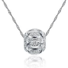 小绿叶 S925银项链韩版时尚短款女锁骨链转运珠吊坠项坠新年礼物