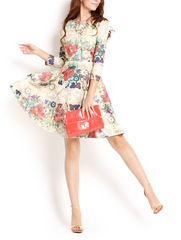Milan breeze ~ a necked Shoppe vintage garden flowers on a big umbrella new white-collar career OL dress