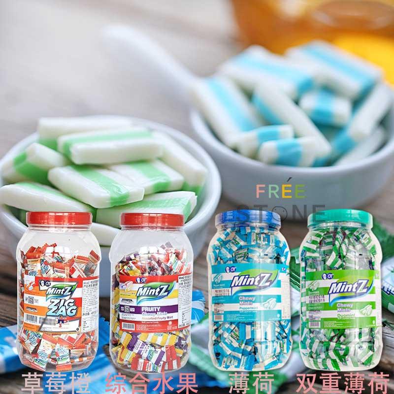 印尼进口明茨MintZ牌薄荷软糖460g桶装 老式清凉糖果90后怀旧零食