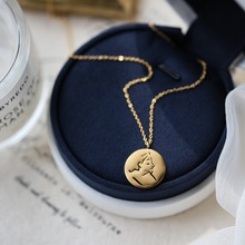 2021hs1式金色冷td的像金币项链女夏锁骨链(小)众轻奢网红礼物