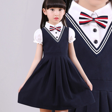 儿童短袖连衣裙公主886学院风裙1g裙中大童假两件裙新款夏装