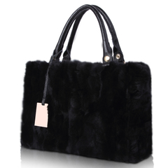 Luxury Leather fat Tanner Schock for 2015 winter Rex rabbit fur handbag new Europe and fluffy bag handbag-mail