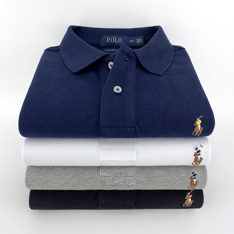 翻领短袖Polo衫男新款夏季高端成熟爸爸保罗衫小彩马纯棉透气T恤
