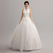 2015 new v neck wedding dresses hanging neck slimmer Princess Bride wedding dress fashion Korean alignment white