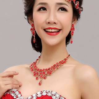 2015 new red necklace + earrings set does not contain frontlet capitatum XXL002-