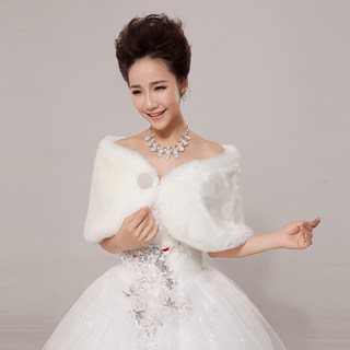Bridal shawls bridal wedding dress shawl 2015 new Korean version of warm thick white fur shawls winter