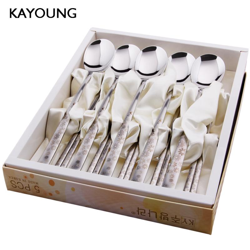 韩国不锈钢餐具礼盒5件套装韩式长柄勺子筷子304送礼品装乔迁福利