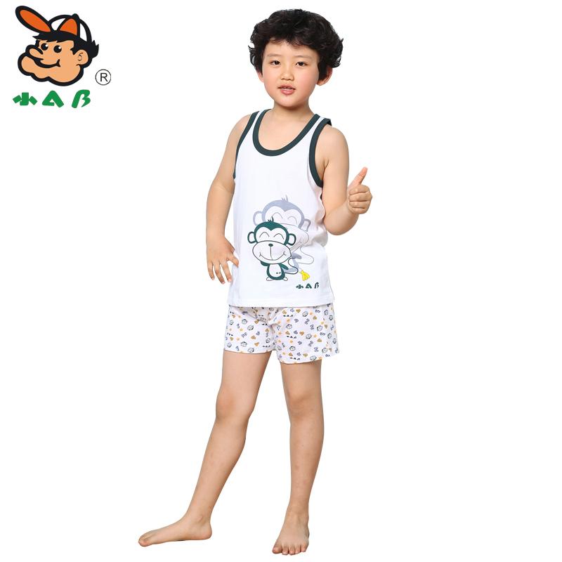 小AB 儿童背心纯棉夏季 男童无袖背心 全棉圆领小男孩T恤家居服
