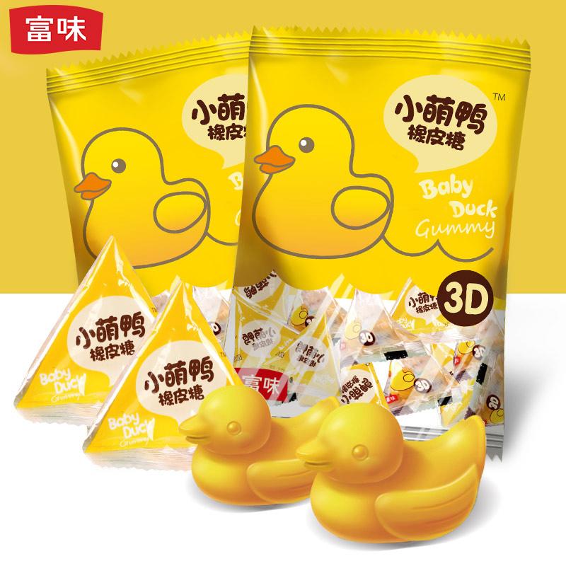 富味小黄鸭水果糖喜糖橡皮糖qq糖软糖糖果70g袋装2包装
