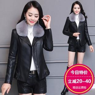 皮衣外套女2020春秋季新款带毛领小个子短款大码加棉PU显瘦皮夹克