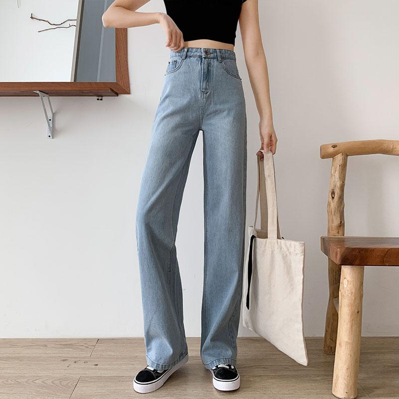 泫雅牛仔裤女春装2020年新款潮宽松显瘦老爹高腰垂感直筒阔腿春秋