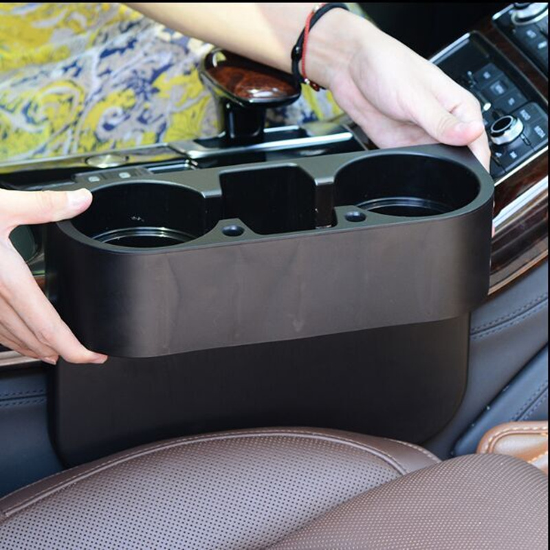 多功能汽车水杯架子车载饮料架手机座置物盒三合一车用饮料支架台
