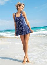 法国品牌大码遮ka4显瘦保守tz裙式波点外贸女士泳装