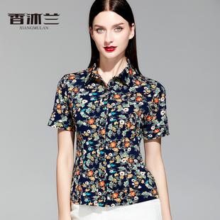 香沐兰2019时尚中年女碎花上衣妈妈夏装新款针织弹力显瘦短袖衬衫