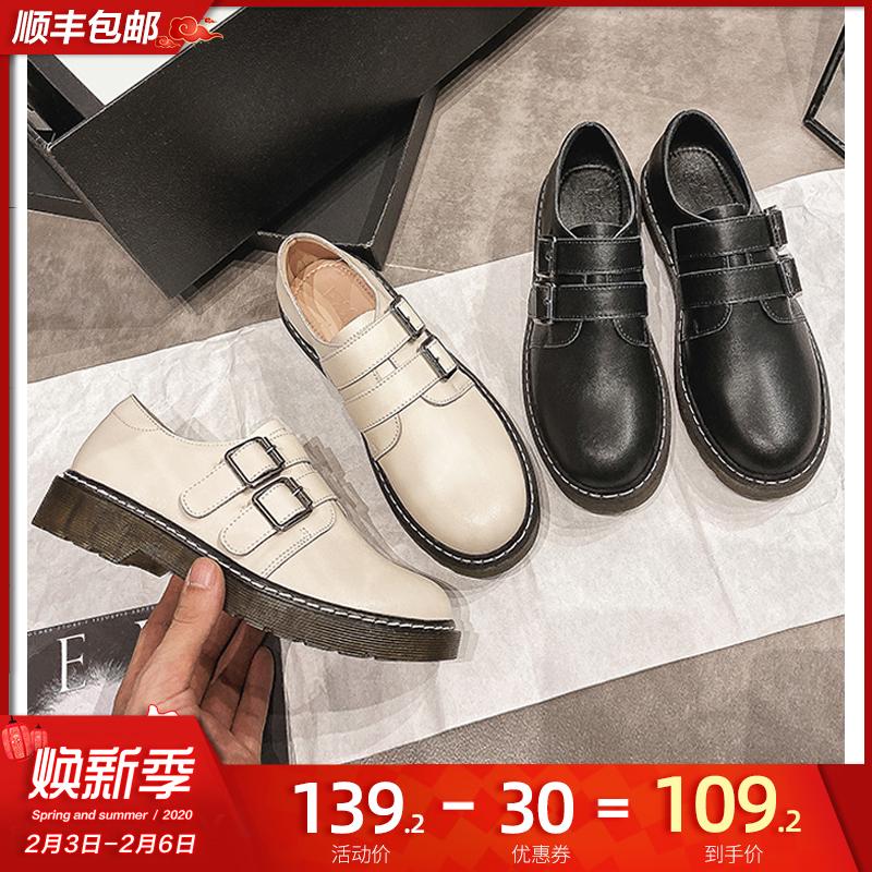 [¥89.2]真皮2020新款春季平底英伦风小皮鞋女软皮复古日系jk学院纽扣单鞋