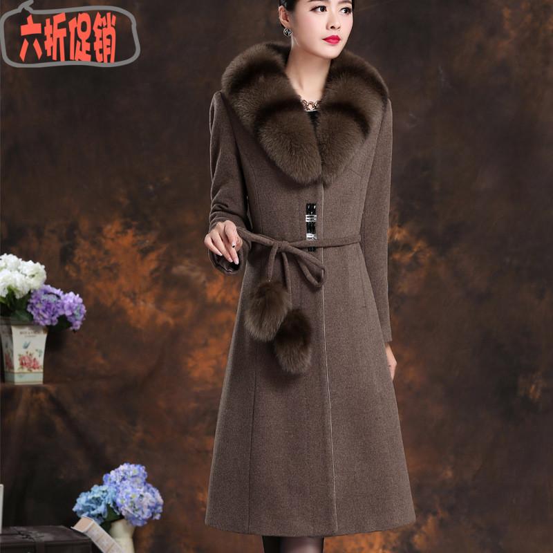 狐狸毛领羊绒大衣女时尚修身显瘦长款过膝2017新款毛领呢子外套