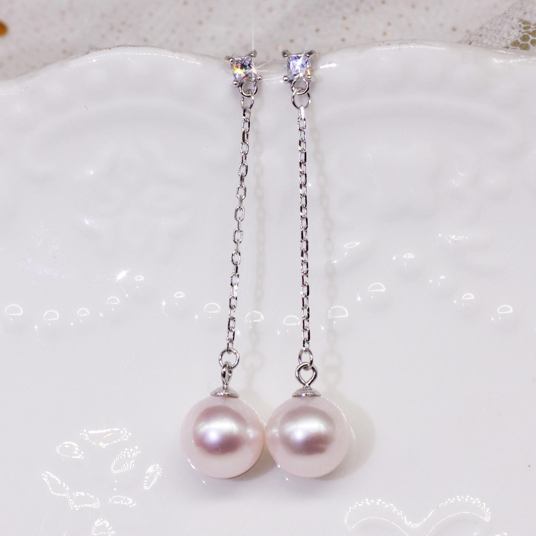 天然珍珠耳坠长款s925纯银耳饰耳环高级女大颗儿气质简单古典简约