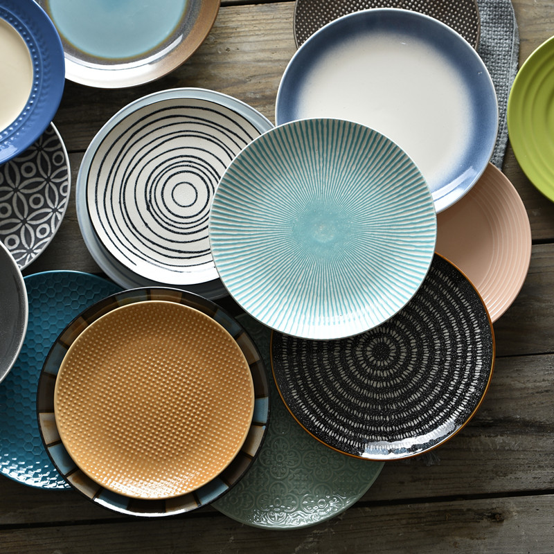 艺家8寸个性日式餐具西餐盘创意陶瓷盘子家用菜盘圆形牛排盘餐盘