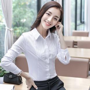 春秋女装白衬衫 女长袖职业正装修身款韩范雪纺衫大码上衣工作服
