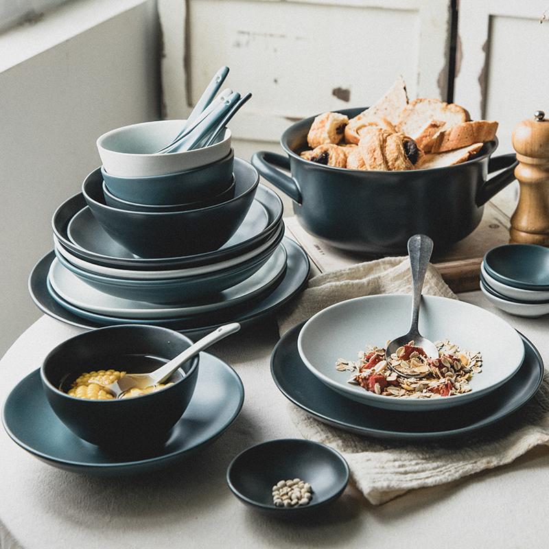 驼背雨奶奶餐具套装碗碟创意简约家用北欧陶瓷餐具碗盘碗筷套装