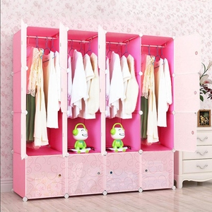 [Residential furniture] Deepening adult combined simple wardrobe resin folding plastic assembly multi-hanging type