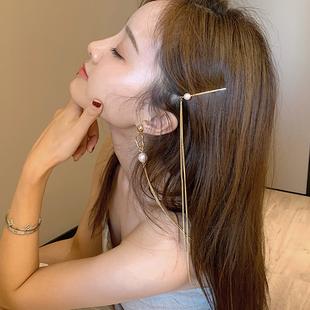 杨超越同款个性发夹耳环一体式长款流苏小众设计珍珠耳钉边夹耳饰