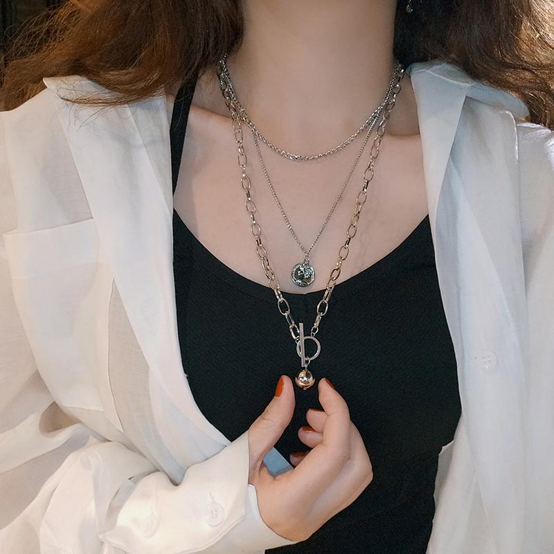 欧美网红简约百搭TY金属球项链女多层金属硬币颈链脖子两件套饰品