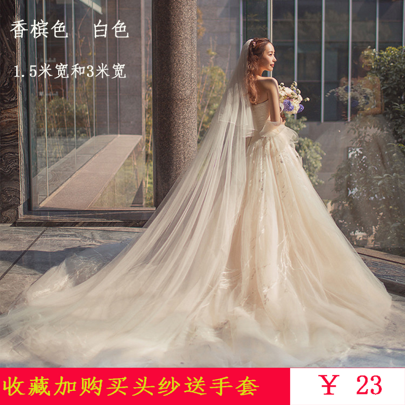 包邮新款香槟色简约3米软头纱新娘结婚拍照超长拖尾婚纱礼服配件