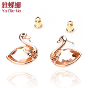 Ya na Swan rhinestone earrings Korean female fashion earring earrings fashion earrings jewelry 0184