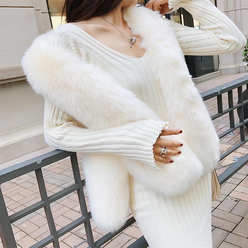 若语一字肩连衣裙秋装新款女v领白色针织裙女长袖中长款露肩包臀