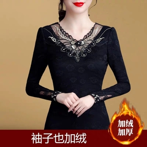 29 plus velvet autumn and winter new V-neck fashion thin section long-sleeved thick lace western style fashion large size women's shirt