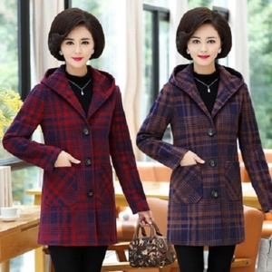 01 Middle-aged female mother autumn and winter woolen coat