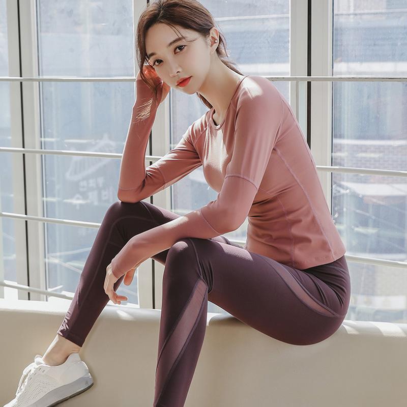 瑜伽服运动套装女初学者春款夏天长袖性感跑步吸汗透气网红健身服