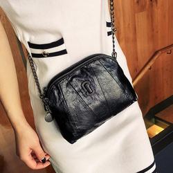 女包包斜挎包2019韩版新款斜跨小包百搭软皮拼接链条包时尚单肩包