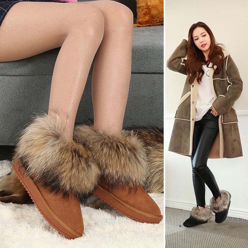狐狸毛雪地靴女冬保暖加绒短筒面包鞋韩版百搭学生可爱一脚蹬短靴