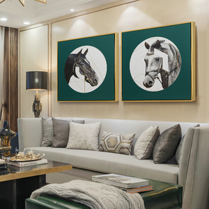 European style simple living room sofa background decoration painting home porch new home light luxury soft decoration horse hanging painting mural