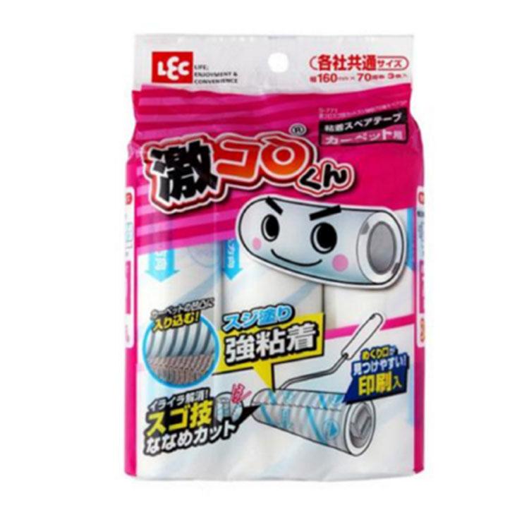 强力粘胶 210撕16cm日本LEC滚刷粘尘纸 粘毛纸 除毛滚筒刷替换装