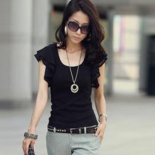雪纺t恤女大码gn4袖莫代尔rx设计感荷叶袖飘逸黑色上衣女夏