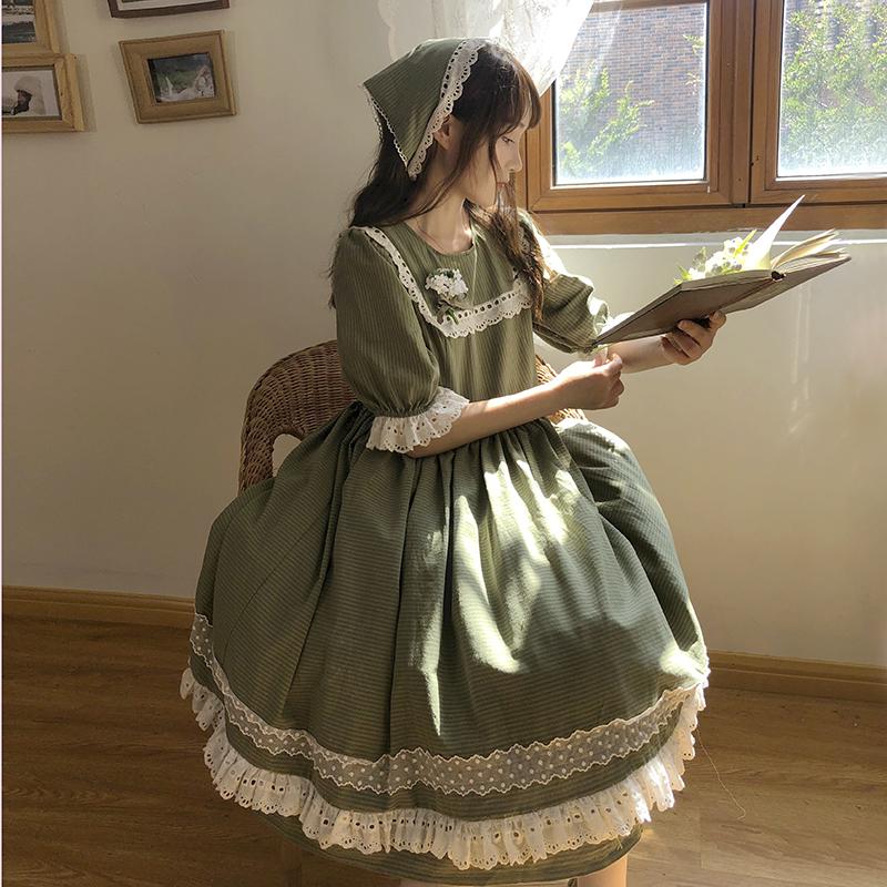 【十二工作室】铃兰物语 秋上新轻lo法式复古方领软妹连衣裙