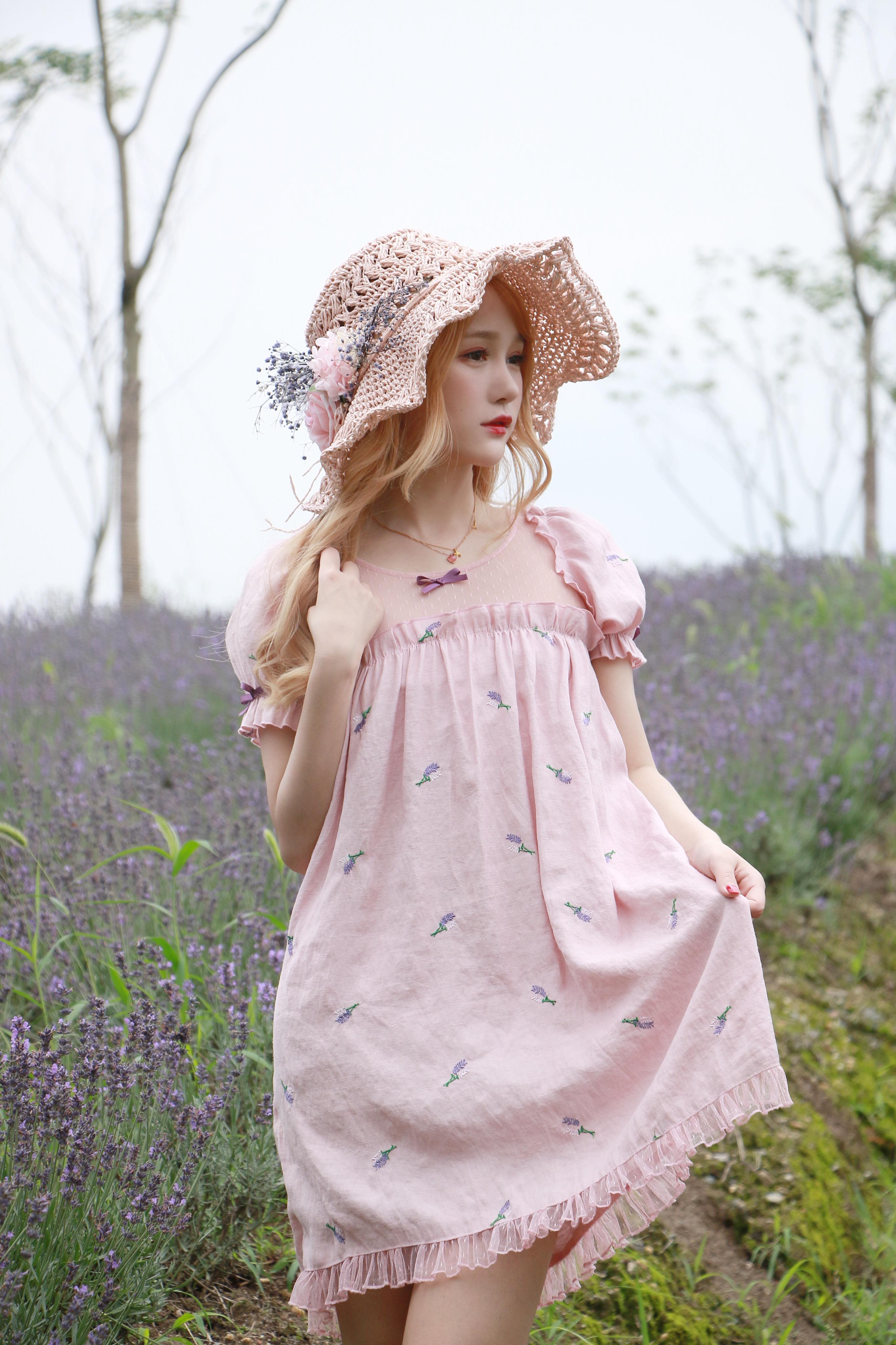 【十二工作室】原创薰衣草胭粉网纱灯笼袖木耳边娃娃裙连衣裙