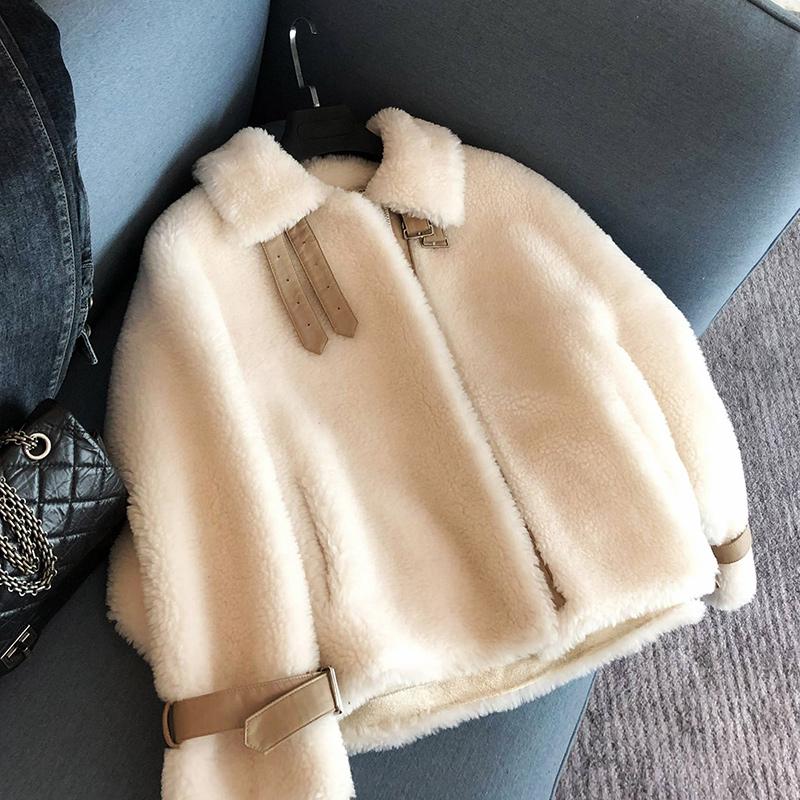 viss金2019新款颗粒绒羊毛大衣女短款复合羊羔毛皮毛一体皮草外套