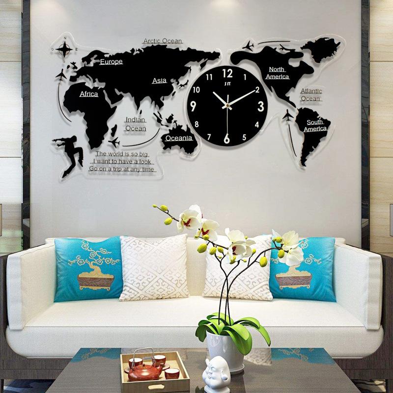 创意钟表挂钟客厅现代简约餐厅艺术时尚装饰北欧世界地图家用时钟