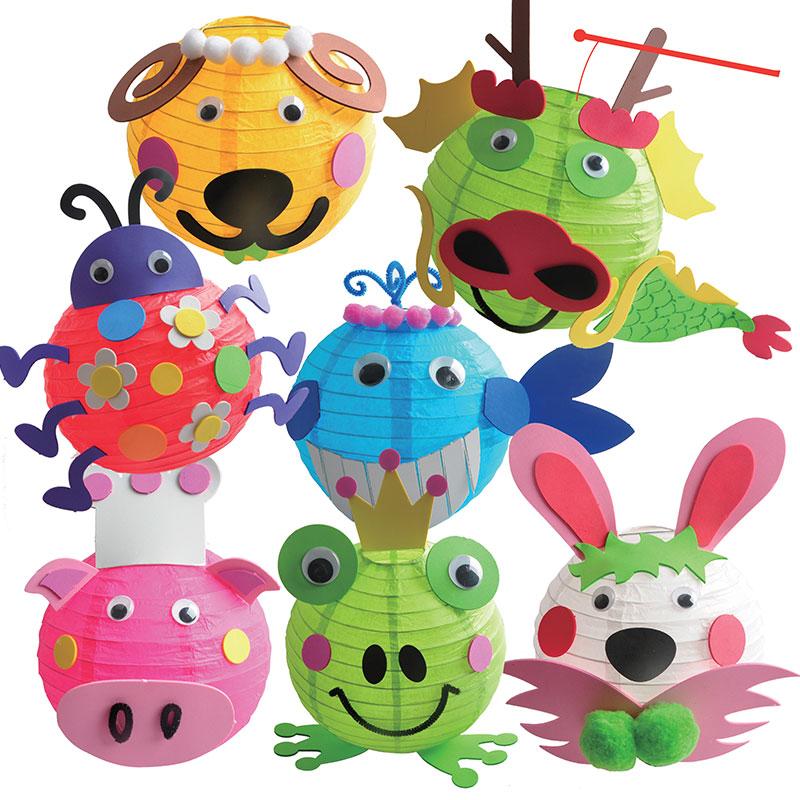 新年元宵春节灯笼手工diy儿童制作材料包 幼儿园小挂饰手提纸花灯
