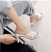 外穿夏季女橘红色白色鞋子高跟女hb12大码拖bc3(小)码凉拖3233 HQ