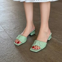 夏鞋女紫色绿色40米白色中跟42大码拖鞋女h2181-400313233 MY