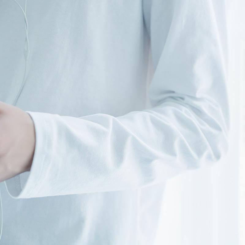 男士长袖白色t恤纯棉圆领打底衫秋季新款宽松潮流体恤休闲装上衣